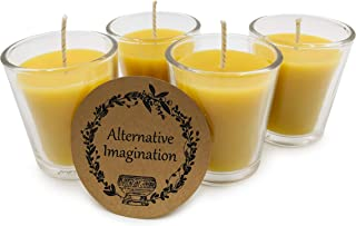 Alternative Imagination 100% Pure, Natural Beeswax Candle Votives in Glass Holders - Pack of 4