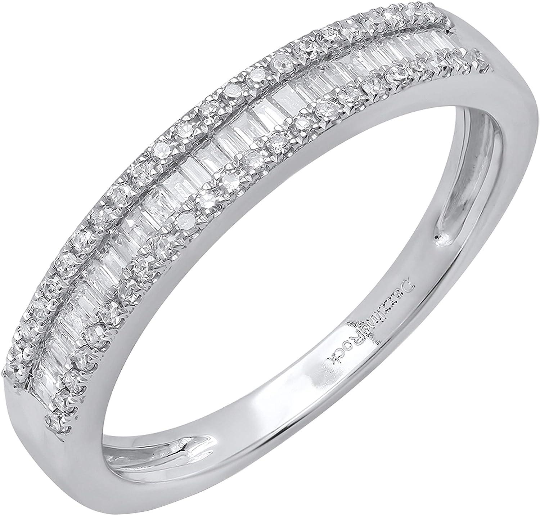 Dazzlingrock Collection 0.30 Carat (ctw) 10K Gold Round & Baguette Diamond Ladies Anniversary Wedding Band 1/3 CT