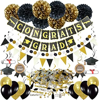 ZERODECO Graduation Decorations, Black and Gold Congrats Grad Banner Paper Pompoms Hanging Swirls Graduation Confetti Paper Garland Party Balloons for Grad Party Decoration Supplies