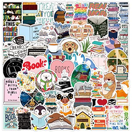 50pcs Funny Cute Reading Vinyl Stickers Waterproof for Laptop Water Bottles Scrapbooking Journaling Wall Classroom Bumper Car, I Love Book Reading Decal Stickers for Kids Planners Adults
