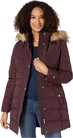 "32"" Zip and Snap Button Puffer w/ Faux Fur Hood"