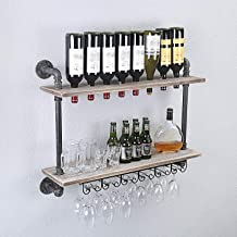 WGX Design For You Industrial Rustic Wall Mounted Wine Racks with Glass Holder Pipe Hanging Wine Rack,2-Tiers Wood Shelf Floating Shelves,Home Room Living Room Kitchen Decor Display Rack (32inch)