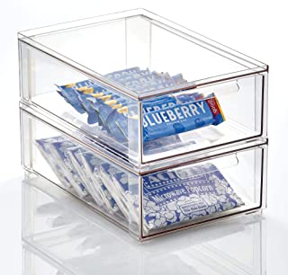 mDesign boite de rangement avec tiroir – boite de rangement plastique pour les chaussures – bac de rangement empilable pou...