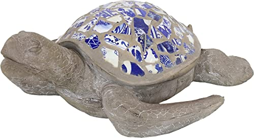 2021 Sunnydaze Sofia new arrival The Sophisticated Concrete Mosaic Sea Turtle Statue - Patio, Yard, Pool, and Garden Decor - Concrete Sculpture with Porcelain Mosaic Shell - Indoor/Outdoor Figurine high quality - 20-Inch sale