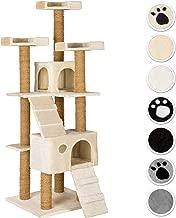TecTake Katzen Kratzbaum Katzenbaum mittelhoch | Stämme komplett mit Kokosseil umwickelt | 2 Höhlen - Diverse Farben -