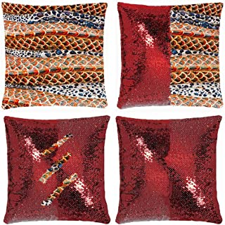 Huayuanhurug Body Red Dragon Texture Abstract Snake Abstract Snake Mermaid Pillow Cover, Gifts for Girls Sequin Pillow Cover Throw Cushion Case Decorative Pillowcase Change Color 18 Inch
