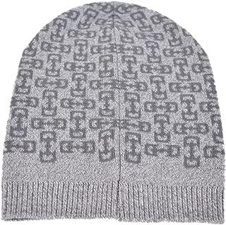 Men's 369627 Light Grey Wool Horsebit Logo Slouchy Beanie Hat O/S