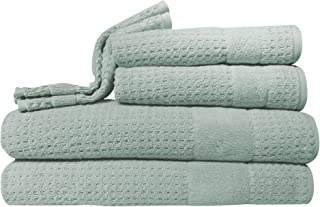Kassatex Hammam Towel Set, Bath: 30x54, Hand: 18x28, Wash: 13x13, Set of 6, Misty Sage