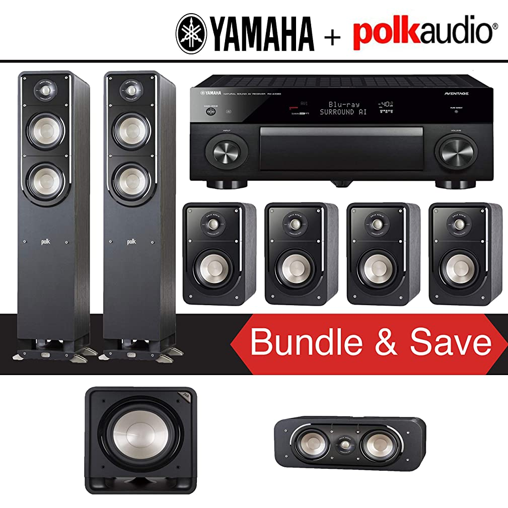 Polk Audio Signature S50 7.1-Ch Home Theater Speaker System with Yamaha AVENTAGE RX-A1080 7.2-Channel 4K Networking Home Theater Receiver