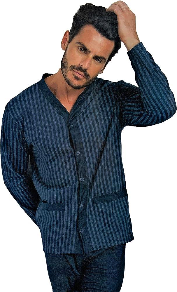 Enrico coveri, pigiama per uomo, in cotone mercerizzato prestige,  manica lunga Avio 8114