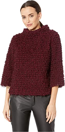 Elbow Sleeve Stand Neck Popcorn Eyelash Knit Top