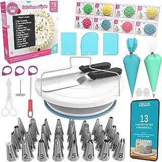 Cake Decorating Kit Cake Turntable - 78 pcs Baking Set Turntable Cake Stand - Baking Tools with Cake Turntable Rotating Ca...