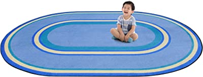 Joy Carpets Kid Essentials Ripples Misc Sold Color Area Rugs, 46-Inch by 64-Inch by 0.36-Inch, Boy Blue