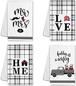 Hexagram Mr and Mrs Kitchen Towels, Wedding Gifts Bridal Shower Kitchen Dish Towels, Funny Housewarming Gifts for Women, Mr Mrs Hand Towels for Drying Dishes, Decorative Farmhouse Tea Towel Set of 4