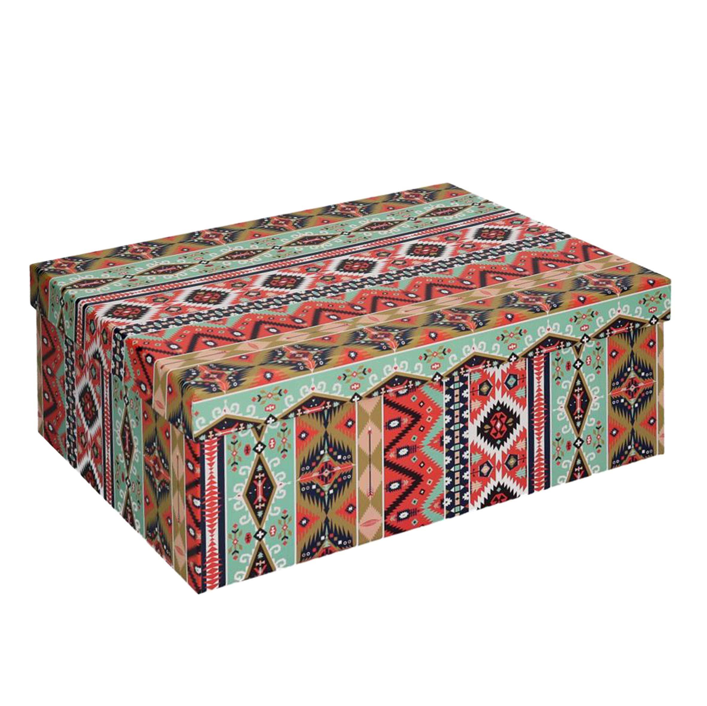 Vacchetti S.p.A - Caja de cartón Decorada étnica de 33 x 25 x 12 cm: Vacchetti S.p.A: Amazon.es: Hogar