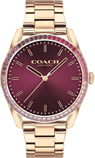 ساعة من كوتش للنساء بمينا احمر وسوار ستانلس ستيل مطلي ايونيًا بذهبي وردي - 14503477