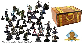 Dungeons and Dragons 25 Assorted D&D Miniatures Figures! All Creatures! Comes in Golden Groundhog Treasure Chest Storage Box!