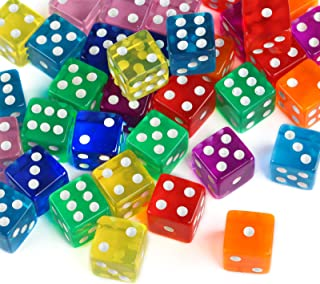 GWHOLE 40 Pieces 6-Sided Game Dice Set, 8 Translucent Colors for Board Games and Teaching Math
