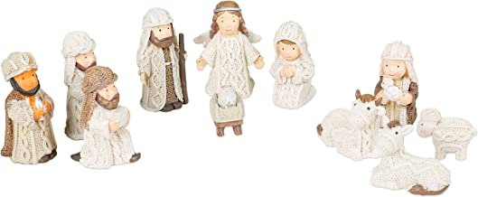 Transpac Imports, Inc. Cable Knit Textured Holy Family, Three Kings and Angel Resin Christmas Nativity Figurine Set of 12