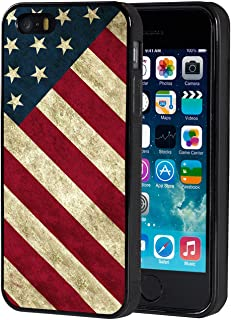 iPhone 5s Case,iPhone SE Case,AIRWEE Slim Anti-Scratch Shockproof Silicone TPU Back Protective Cover Case for iPhone 5/5s/SE,Patriotic Vintage American Flag