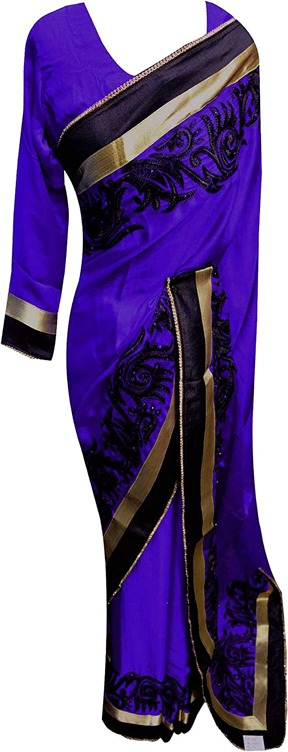 Indian border fancy traditional saree with stitched blouse party outfit 7083