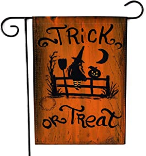 """Fiuqaomy Halloween Trick or Treat Witch Garden Flag Vertical Double Sized, Holiday Burlap Yard Outdoor Decoration 12.6"""" 18.5"""""""