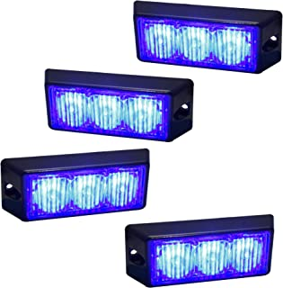 LAMPHUS 4pc SolarBlast 3W LED Emergency Police Vehicle Deck Grille Warning Light Head (Flash Mode Sync-able Across Units) - Blue
