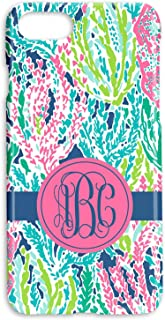 Custom Monogrammed Hard Shell Phone Cover | Lilly Inspired Coral Reef Print Case | Personalized with your Monogram | iPhones 6 7 8 PLUS X XS XR MAX