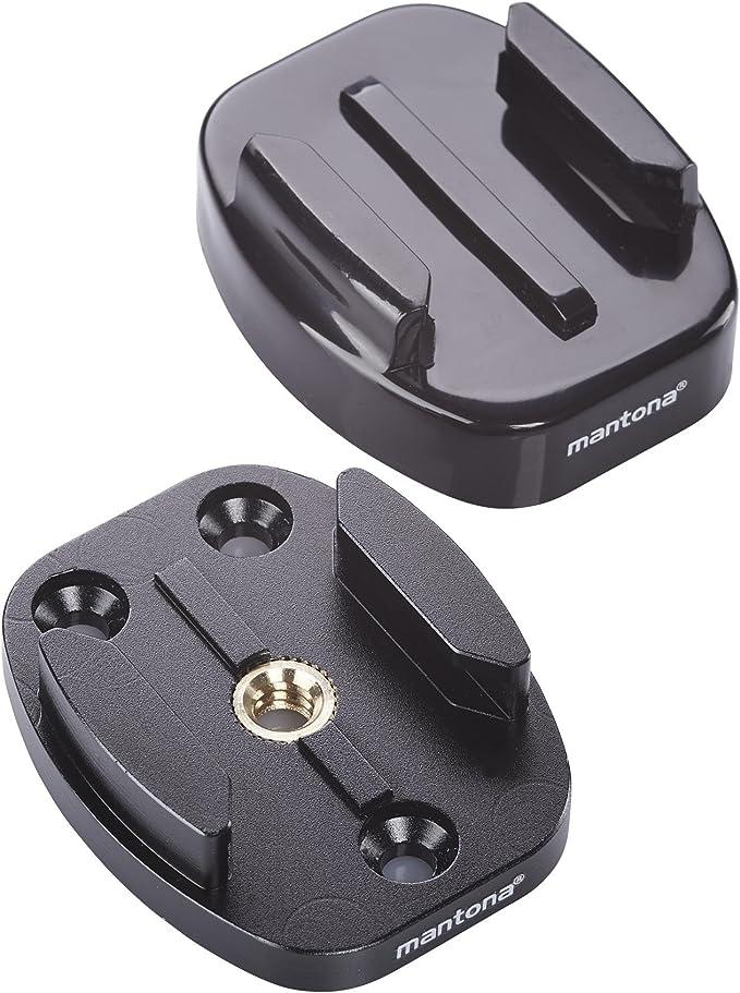 Mantona 21289 Gopro Schnellwechselplatten Set Schwarz Kamera