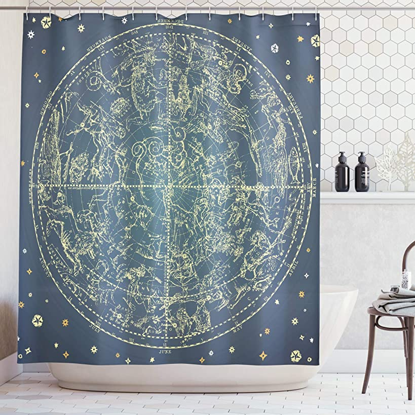 Ambesonne Space Shower Curtain by, Vintage Zodiac Chart Constellation of Northern Stars Astrology Image, Fabric Bathroom Decor Set with Hooks, 70 Inches, Dark Blue Yellow