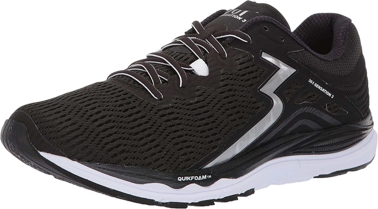361 Men's Sensation 3 Running shoes Sneaker Black Silver 11.5 M US