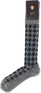 VK Nagrani Men's Dress Socks Over The Calf Houndstooth L696 Light Gray