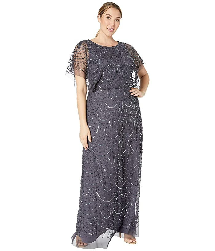 1920s Formal Dresses & Evening Gowns Guide Adrianna Papell Plus Size Beaded Blouson Flutter Sleeve Gown Gunmetal Womens Dress $244.40 AT vintagedancer.com