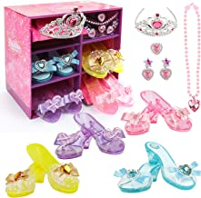 Hodola Girls Princess Dress up Shoes Set Girls Play Shoes and Jewelry Boutique Role Play Collection Shoes Set Gift Set wit...