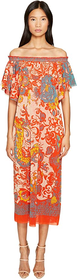 FUZZI - Off the Shoulder Dress in Dragonessa Print