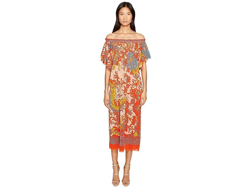 FUZZI Off the Shoulder Dress in Dragonessa Print (Pompei) Women