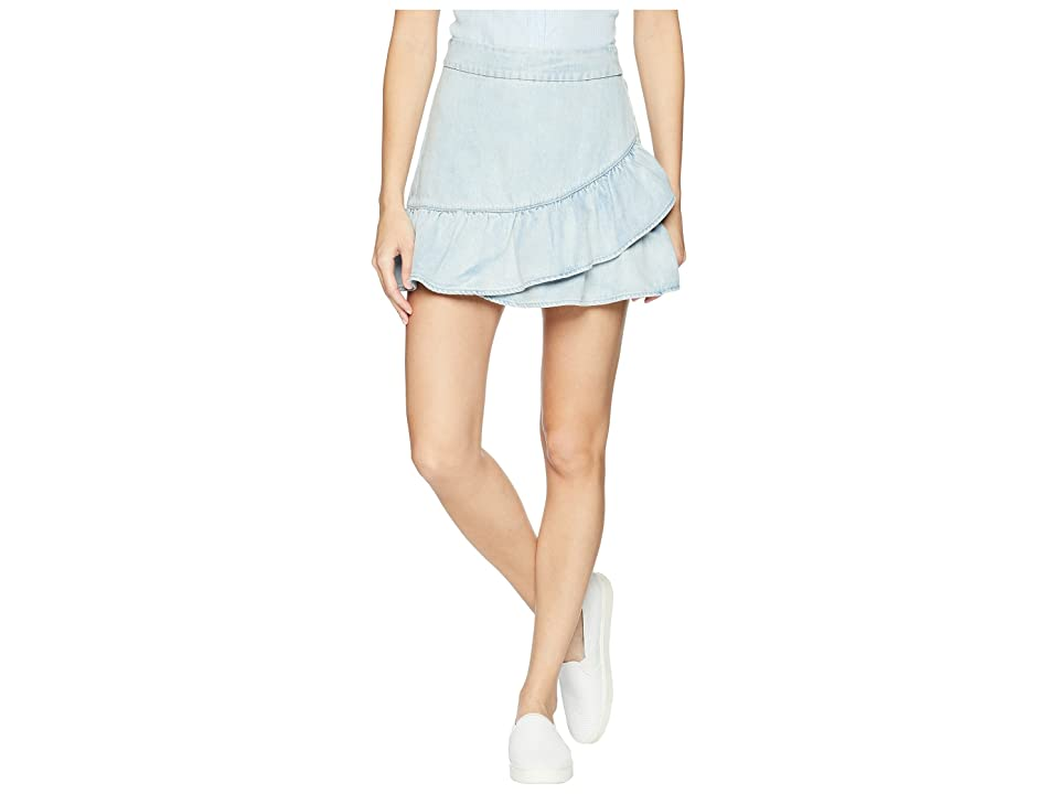 1.STATE Ruffle Edge Denim Mini Skirt (Reef Wash) Women