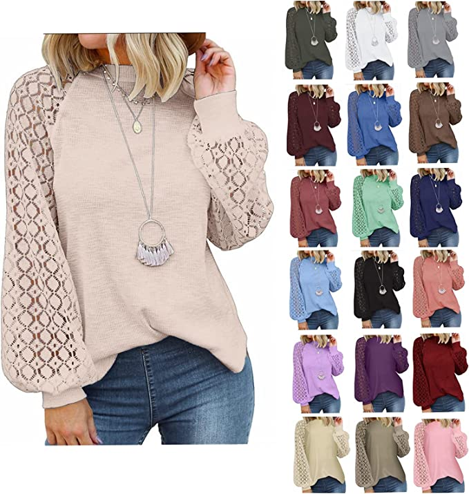 Fudule Long Sleeve Shirts for Women Fall Clothes Loose Fit Blouses Elegant Lace Crochet Tops Casual Lightweight Tunics