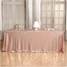 Poise3EHome 60×120'' Rectangle Sequin Tablecloth for Party Cake Dessert Table Exhibition Events, Rose Gold