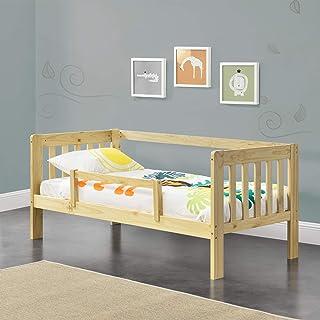 [en.casa] Lit d'enfant Design avec Barrière Anti-Chute Construction Robuste Capacité de Charge Jusqu'à 50 kg Bois de Pin C...
