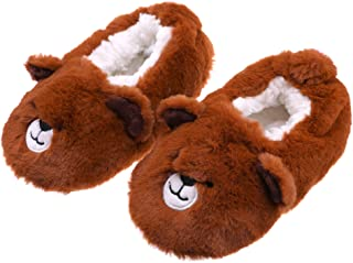 Image of A Customer Favorite: Fuzzy Brown Bear Slippers for Girls