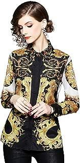 Women's Paisley Print Shirt Regular Fit Long Sleeve Button up Casual Blouse Top
