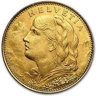 1911 CH - 1922 Switzerland Gold 10 Francs BU (Random) Gold Brilliant Uncirculated