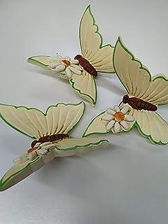 Farfalle Decorative da Parete - Ceramica - Set da 3 Pezzi - linea Margherite - Le Ceramiche Del Re