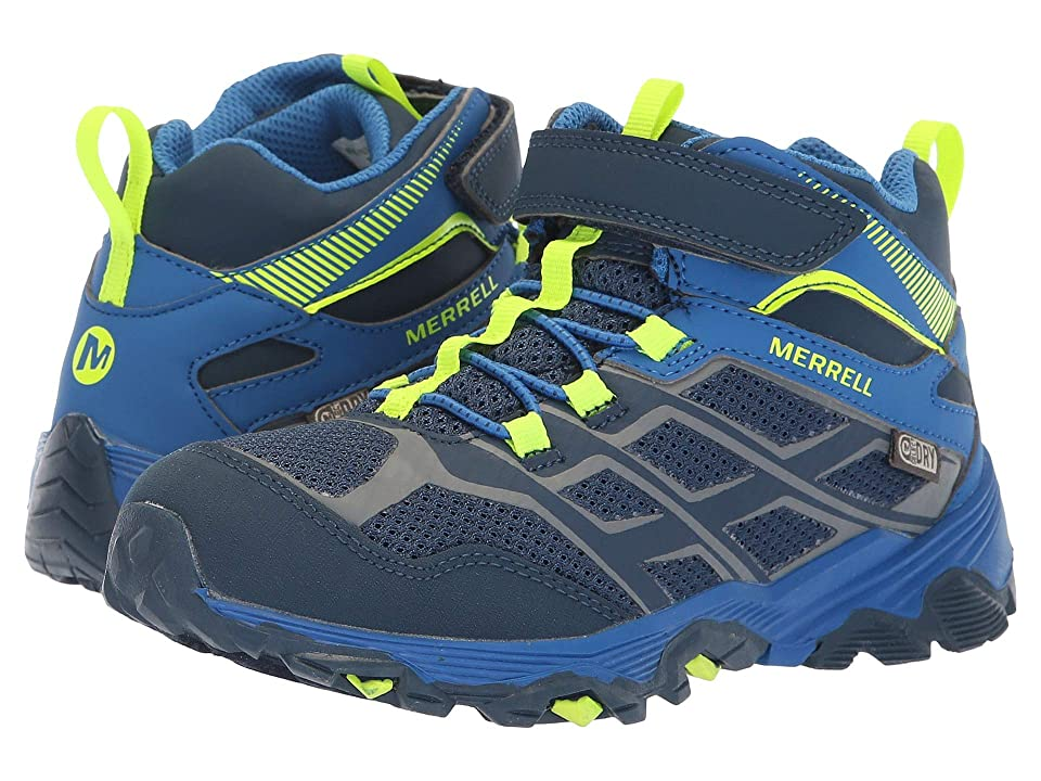 Merrell Kids Moab FST Mid A/C Waterproof (Little Kid) (Navy/Cobalt) Boys Shoes