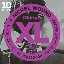 D'Addario XL Nickel Wound Electric Guitar Strings, Super Light Gauge – Round Wound with Nickel-Plated Steel for Long Lasting Distinctive Bright Tone and Excellent Intonation – 9-42, 10 Sets