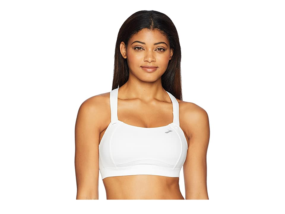 Brooks Juno Cross Back Adjustable High-Impact Sports Bra Moving Comfort (White) Women