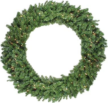 Northlight Pre-Lit Canadian Pine Artificial Christmas Wreath - 48-Inch, Clear Lights