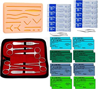Suture Practice Kit for Training Medical Students, 34 Pieces, with Suture Pad, Threads and Needles