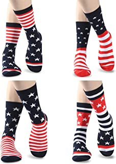 Women's Novelty Cotton Crew Socks, Sunew Cute Fun Pattern Casual Dress Socks 4 Pairs